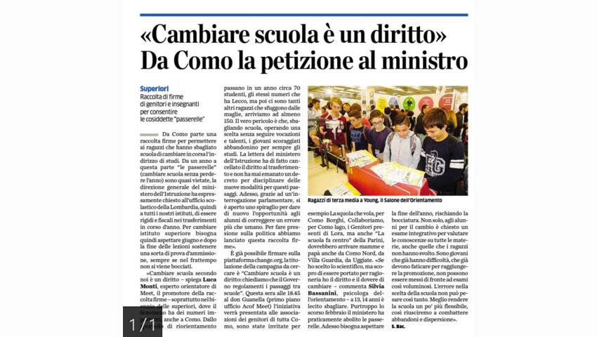 La Provincia di Como - Cambiare scuola è un diritto