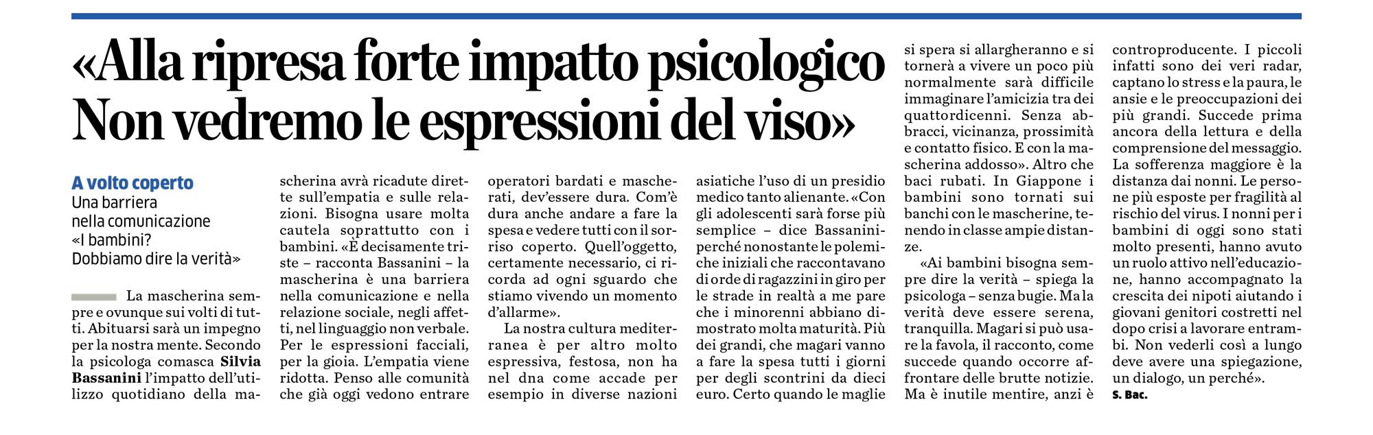 Silvia Bassanini su La Provincia di Como